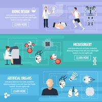 Bionische technologie horizontale banners vector