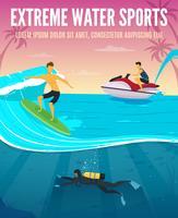 Extreme Watersports vlakke samenstelling Poster vector