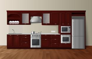 Luxe keuken donkere realistische interieurafbeelding