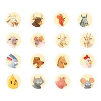Boerderij dieren hoofden ronde iconen collectie