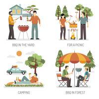 Barbecue 2x2 ontwerpconcept vector