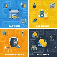 Car Wash 4 Flat Icons Square vector