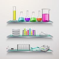 Planken met samenstelling van laboratoriumapparatuur