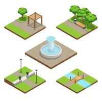 Isometrische landschapsarchitectuur samenstelling