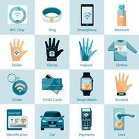NFC-technologiepictogrammen geplaatst vlakke stijl