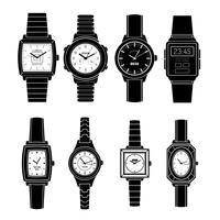 Populaire horloges stijlen zwarte pictogrammen instellen vector