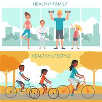 Actieve familie horizontale banners vector