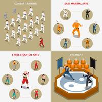 Vechtsporten mensen isometrische 2x2 Icons Set