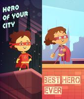 Verticale Banners met kinderen in superheld kostuums vector