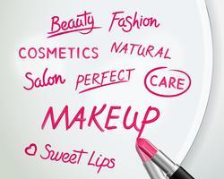 Lippenstiftwoorden op spiegel realistische poster