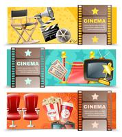 Cinema Movie 3 horizontale retro banners vector