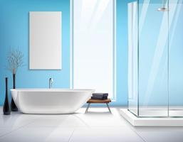 Realistische badkamer interieur vector