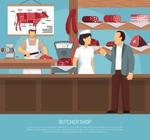 slager vleeswinkel vlakke poster vector