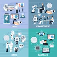 Kunstmatige intelligentie Concept Icons Set vector