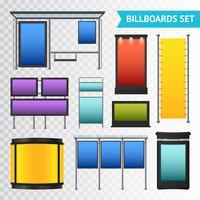 Kleurrijke promotionele billboards instellen vector