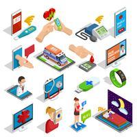 Digitale geneeskunde isometrische Icons Set