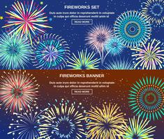 Exploderende Vuurwerk Horizontale Banners vector