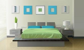 Modern slaapkamer realistisch ontwerp vector
