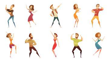 Dansende mensen grappige Cartoon Icons Set