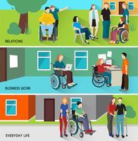 Mensen met een handicap Banners Set vector