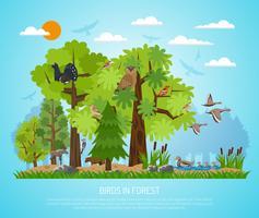 Poster van vogels in het bos