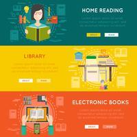 Bibliotheekbanners vector