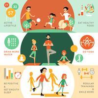 Actieve gezonde levensstijl horizontale banners vector