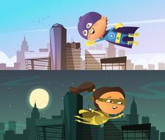 Kinderen superheld twee horizontale banners vector