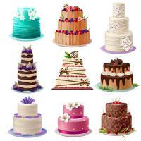 zoete gebakken taarten set vector
