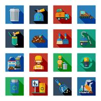 Verwijdering van afval Kleurrijke vierkante pictogrammen vector