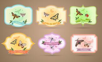 Insecten emblemen Set vector