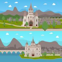 Middeleeuwse oude tempels Horizontale composities vector