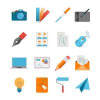 Vlakke die Pictogrammen voor Web en Grafisch Ontwerp worden geplaatst