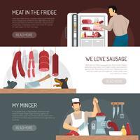 Butcher Meat Shop Horizontale platte banners vector