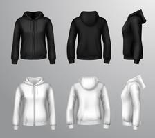 Dames zwart en wit Hooded Sweatshirts vector