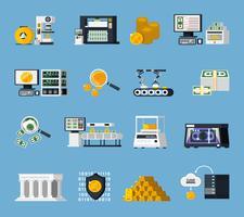 Geld productie Icons Set
