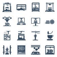 3D afdrukken Zwarte Contour pictogrammen collectie vector