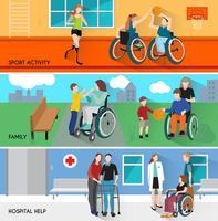 Mensen met een handicap Horizontale banners instellen vector