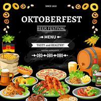 Duitse Oktoberfest schoolbord Menu platte Poster vector
