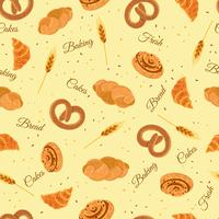 Bakkerijbrood Naadloos decoratief patroon vector