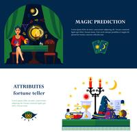 Fortune Teller Attributes 2 Flat Banners vector