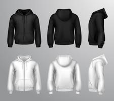 Zwart-witte mannelijke sweatshirts met capuchon vector