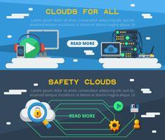 Twee horizontale banners voor clouddiensten vector