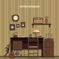 Retro interieur illustratie vector