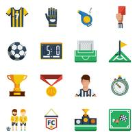 Voetbal platte pictogrammenset vector