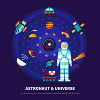 Astronaut en universum ingesteld