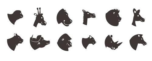 dier hoofden silhouet ingesteld