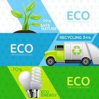 Ecologie Nature Recycling Flat Banners Set vector