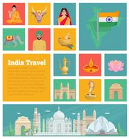 India decoratieve vlakke pictogrammen vector