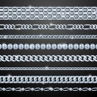 zilveren kettingen instellen vector